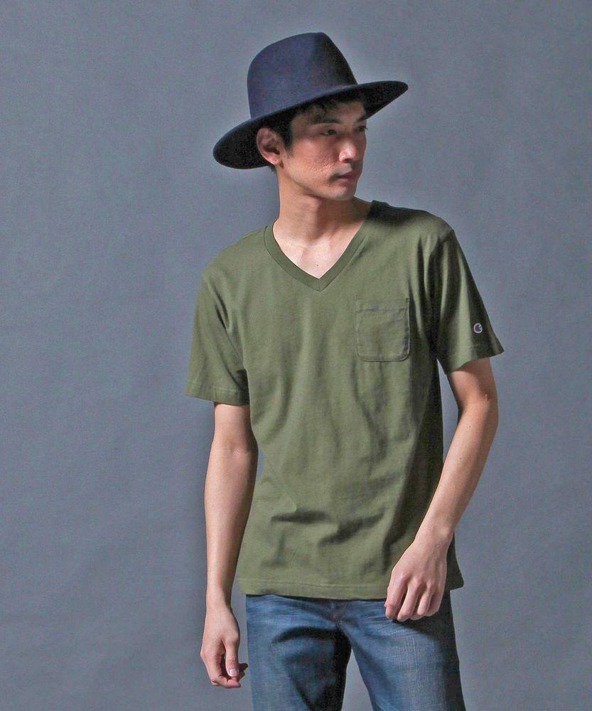 Champion VネックTシャツ メンズ グリーン