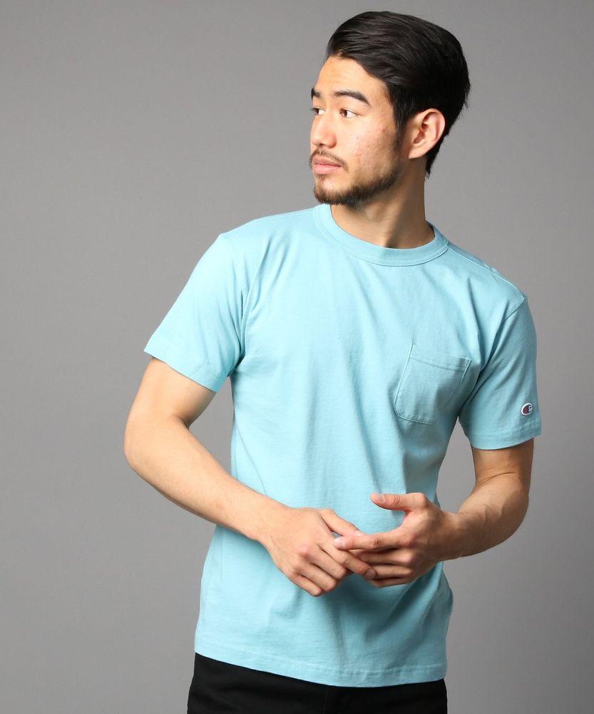 Champion ポケット付クルーネックTシャツ メンズ サックス