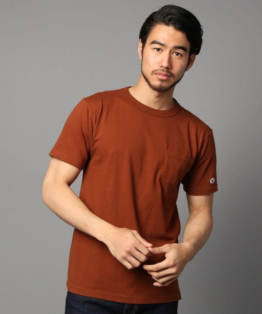Champion ポケット付クルーネックTシャツ メンズ ブラウン
