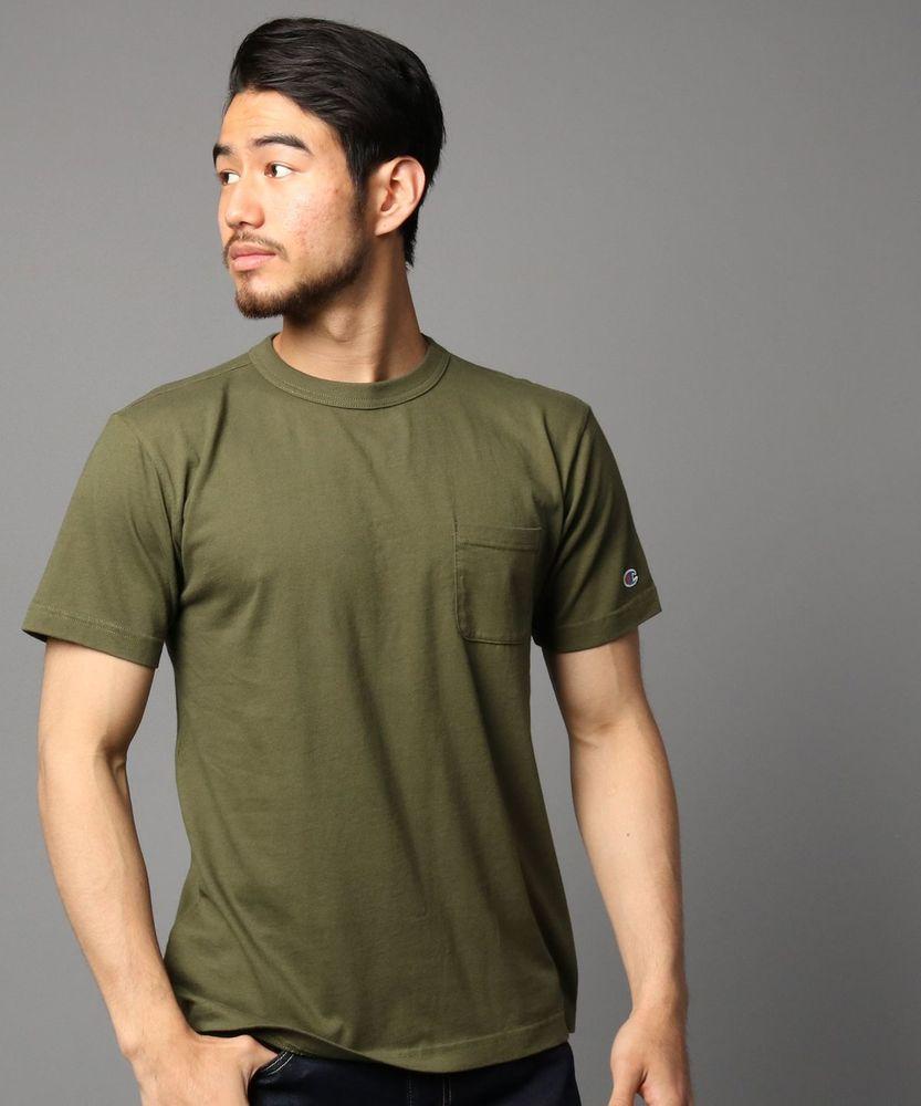 Champion ポケット付クルーネックTシャツ メンズ グリーン