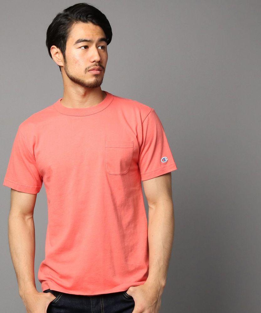 Champion ポケット付クルーネックTシャツ メンズ レッド