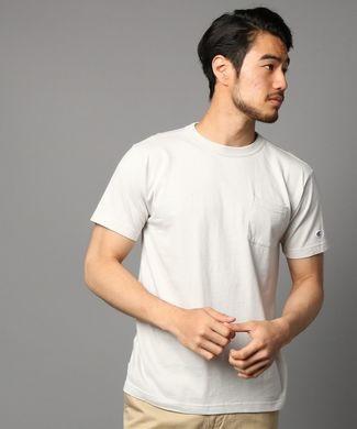 Champion ポケット付クルーネックTシャツ メンズ ライトグレー