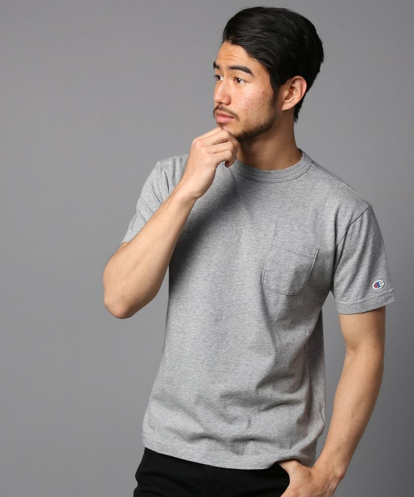 Champion ポケット付クルーネックTシャツ メンズ グレー