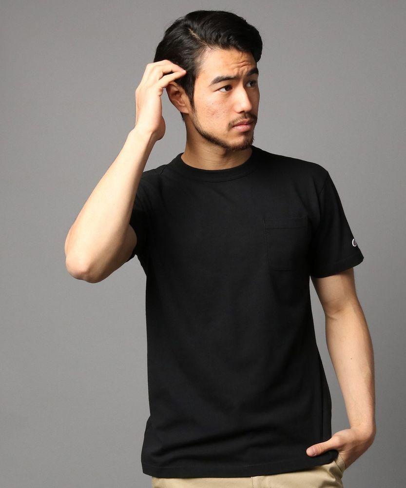 Champion ポケット付クルーネックTシャツ メンズ ブラック