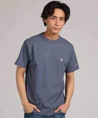 Champion 【WEB限定】ワンポイントクルーネックTシャツ メンズ ブルーグレー