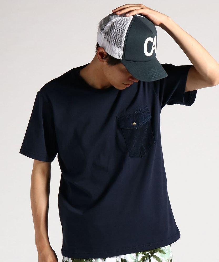 KRIFF MAYER 【WEB限定価格】インディゴポケット半袖Tシャツ メンズ ネイビー