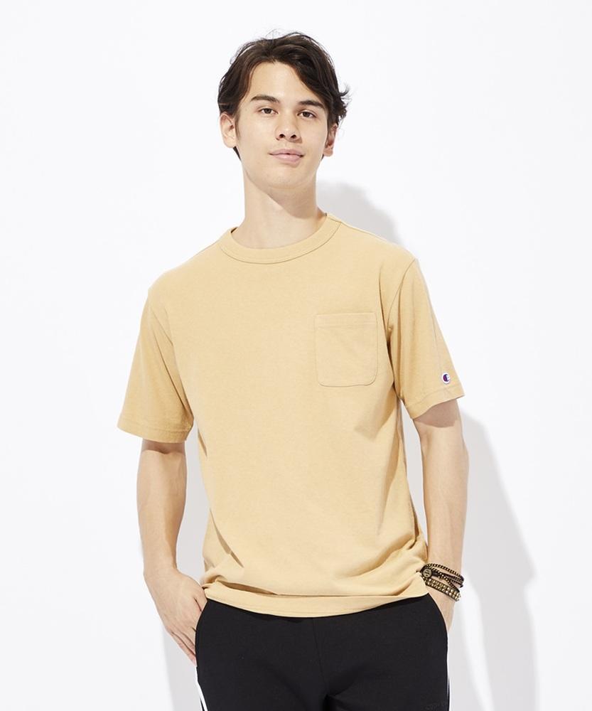 Champion ポケット付クルーネックTシャツ メンズ ベージュ