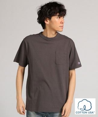 Champion ポケット付クルーネックTシャツ メンズ ダークグレー