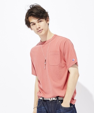 Champion ポケット付クルーネックTシャツ メンズ *ショッキングピンク