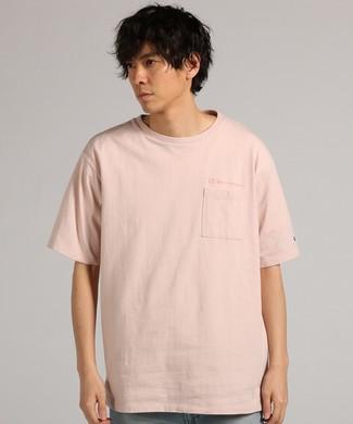 Champion ビッグシルエットTシャツ メンズ ピンク