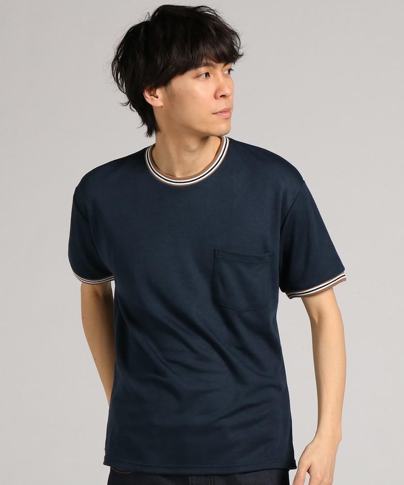 BACK NUMBER リブラインポンチTシャツ メンズ ネイビー