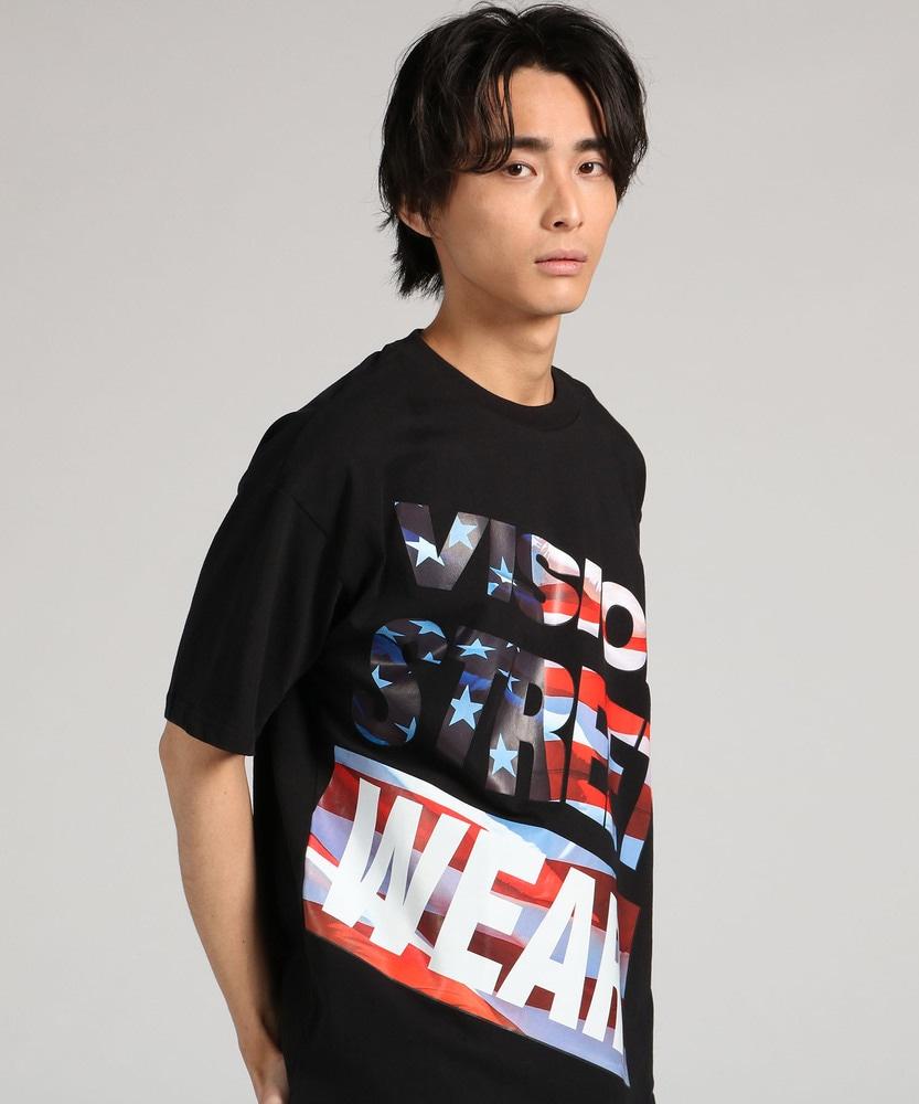 VISION プリントTシャツ メンズ ブラック
