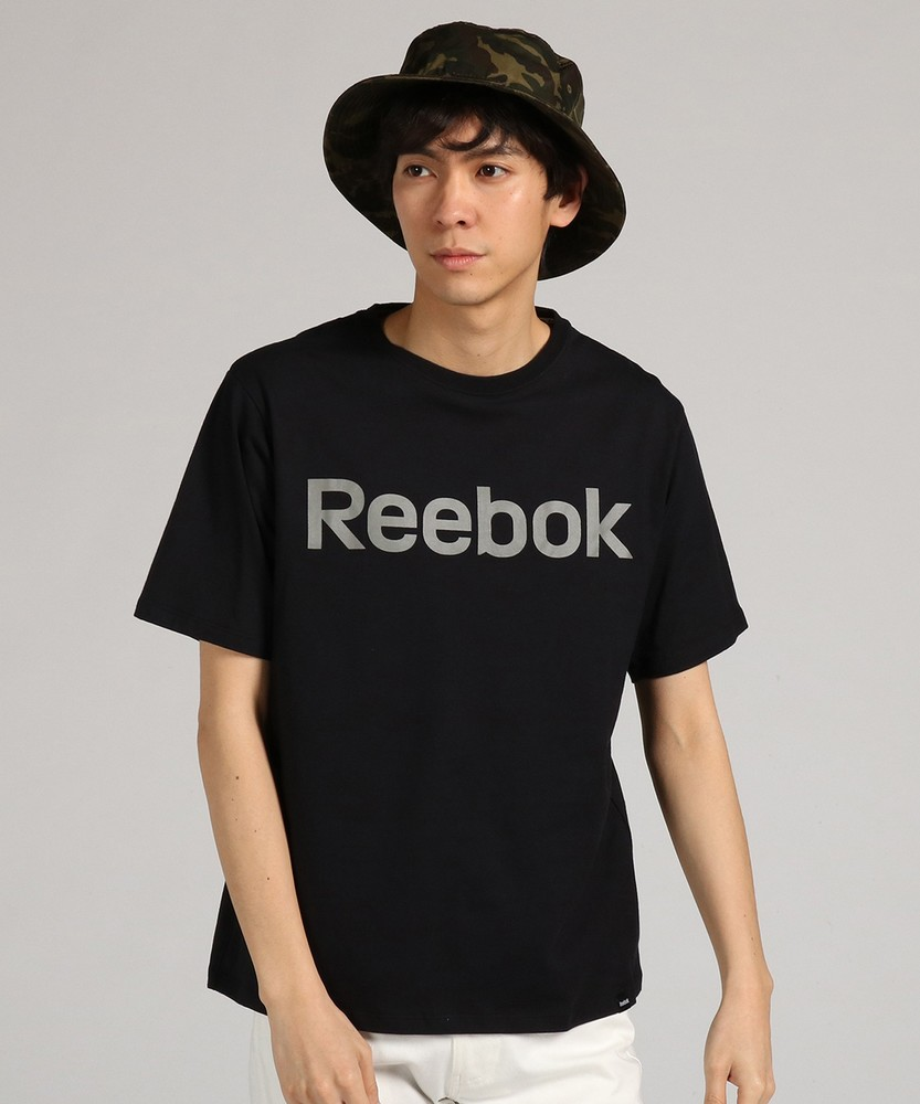 Reebok プリント半袖Tシャツ メンズ ブラック