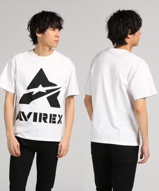 AVIREX デザインプリント半袖Tシャツ メンズ ホワイト