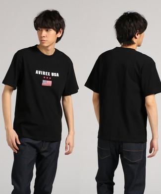 AVIREX デザインプリント半袖Tシャツ メンズ ブラック