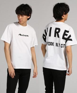 AVIREX デザインプリント半袖Tシャツ メンズ *ホワイト