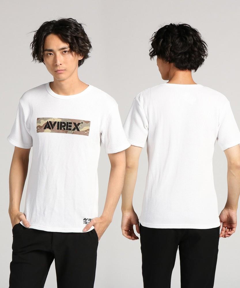 AVIREX ワッフルショートスリーブTシャツ メンズ ホワイト