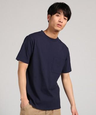 GOOD WEAR 【WEB限定】ポケット付きベーシックTシャツ メンズ ネイビー