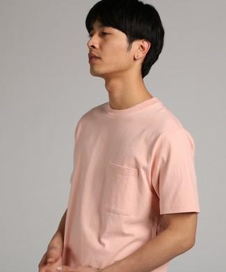 GOOD WEAR 【WEB限定】ポケット付きベーシックTシャツ メンズ ピンク