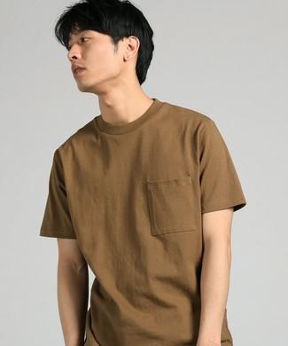 GOOD WEAR 【WEB限定】ポケット付キベーシックTシャツ メンズ カーキ