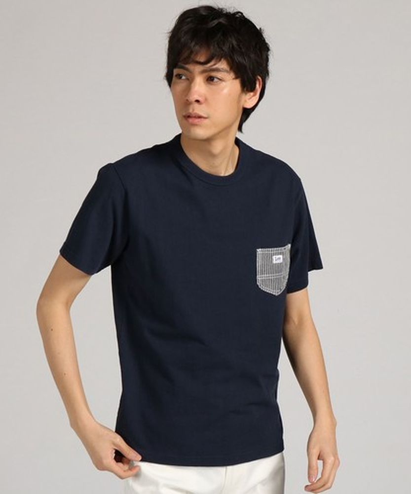 Lee ポケット付き半袖Tシャツ ユニセックス メンズ ネイビー