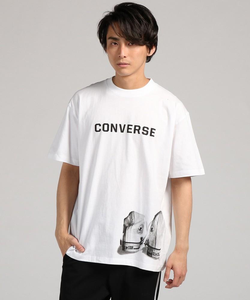 CONVERSE 「大きめサイズ」シューズプリントTシャツ メンズ ホワイト
