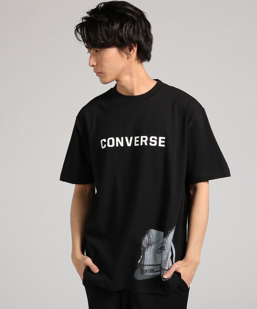 CONVERSE 「大きめサイズ」シューズプリントTシャツ メンズ ブラック