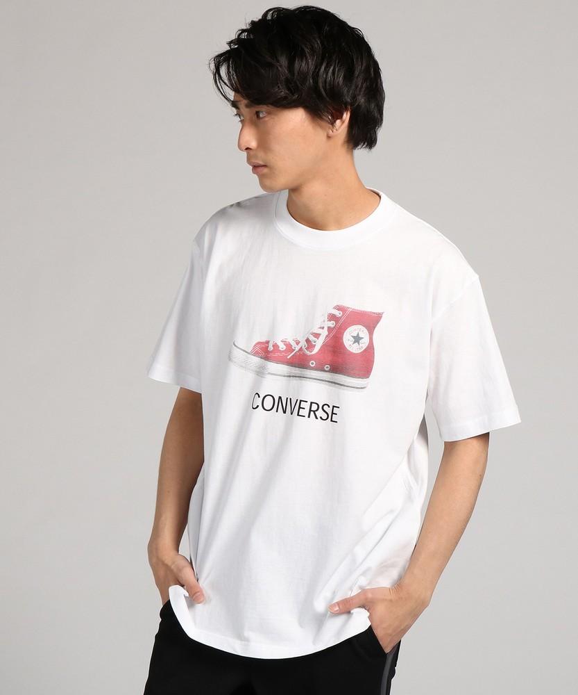 CONVERSE 「大きめサイズ」シューズプリントTシャツ メンズ *ホワイト