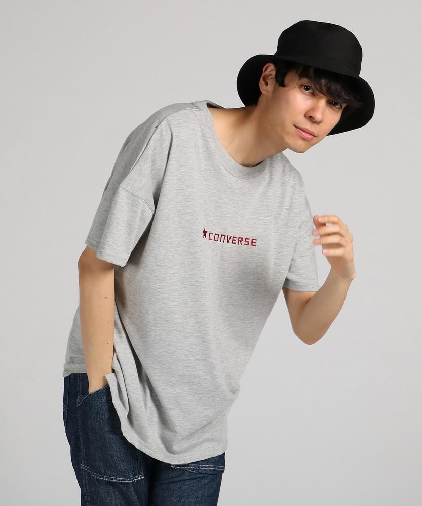 CONVERSE ビッグロゴプリントTシャツ メンズ グレー
