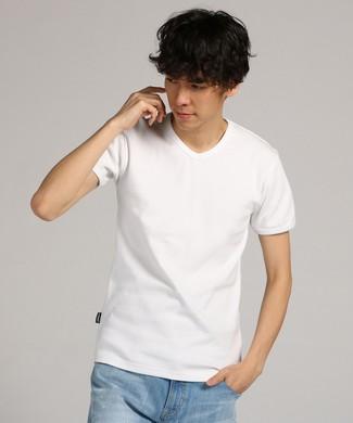 AVIREX テレコVネック半袖Tシャツ メンズ ホワイト