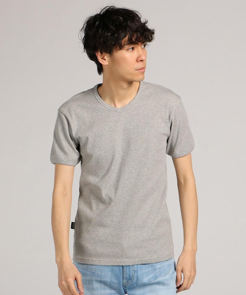 AVIREX テレコVネック半袖Tシャツ メンズ グレー