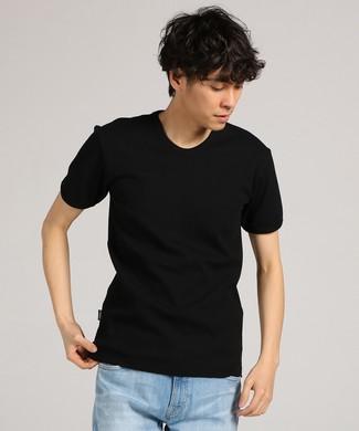 AVIREX テレコVネック半袖Tシャツ メンズ ブラック