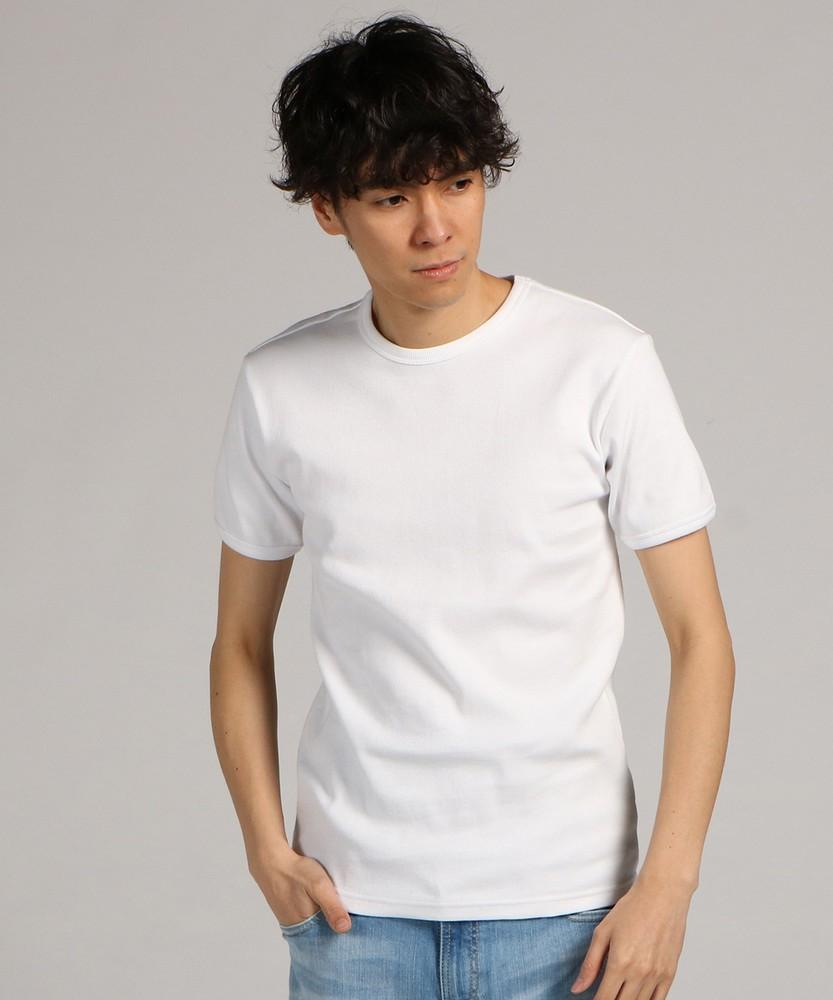 AVIREX テレコクルーネック半袖Tシャツ メンズ ホワイト