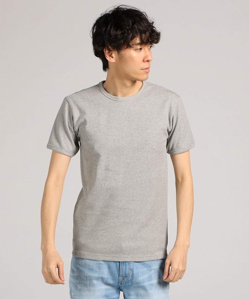 AVIREX テレコクルーネック半袖Tシャツ メンズ グレー