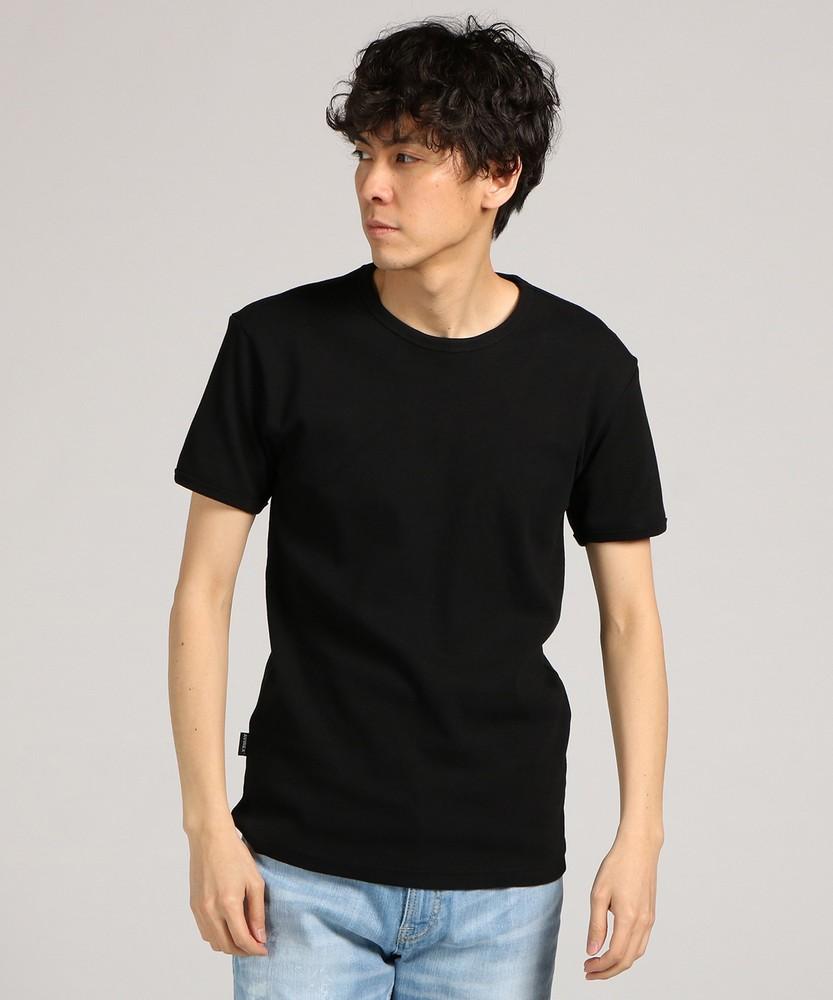 AVIREX テレコクルーネック半袖Tシャツ メンズ ブラック