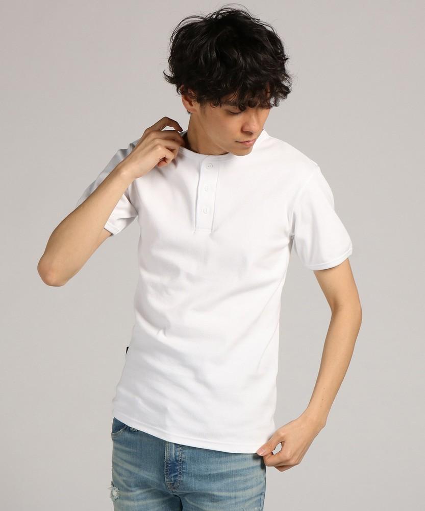 AVIREX テレコヘンリーネック半袖Tシャツ メンズ ホワイト