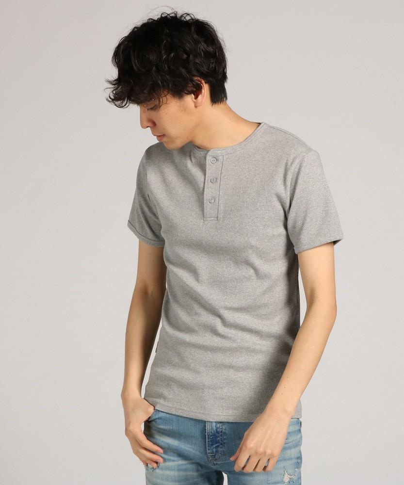 AVIREX テレコヘンリーネック半袖Tシャツ メンズ グレー
