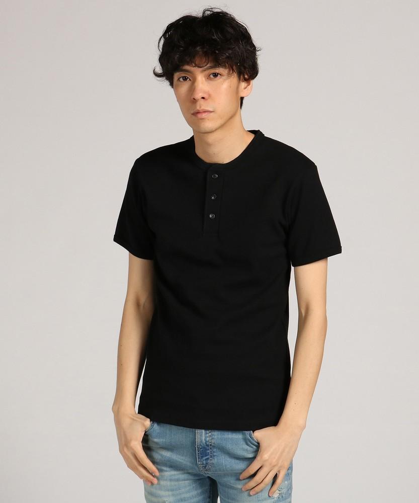 AVIREX テレコヘンリーネック半袖Tシャツ メンズ ブラック