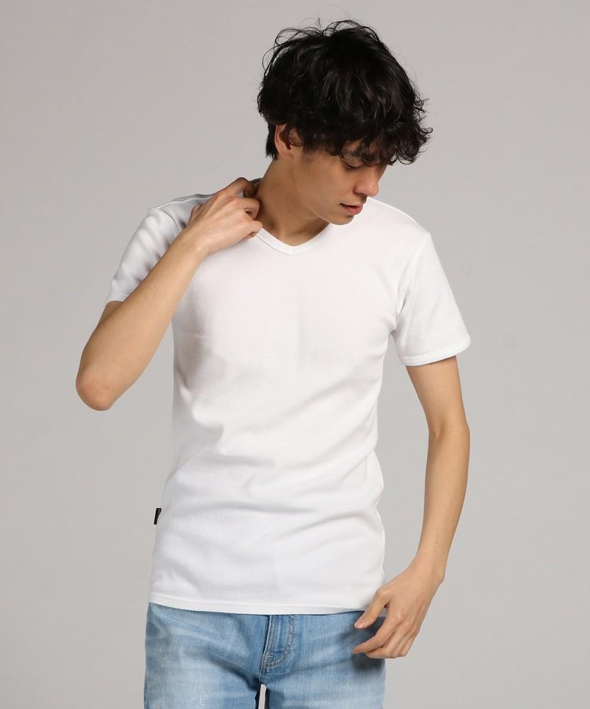 AVIREX ミニワッフルVネック半袖Tシャツ メンズ ホワイト