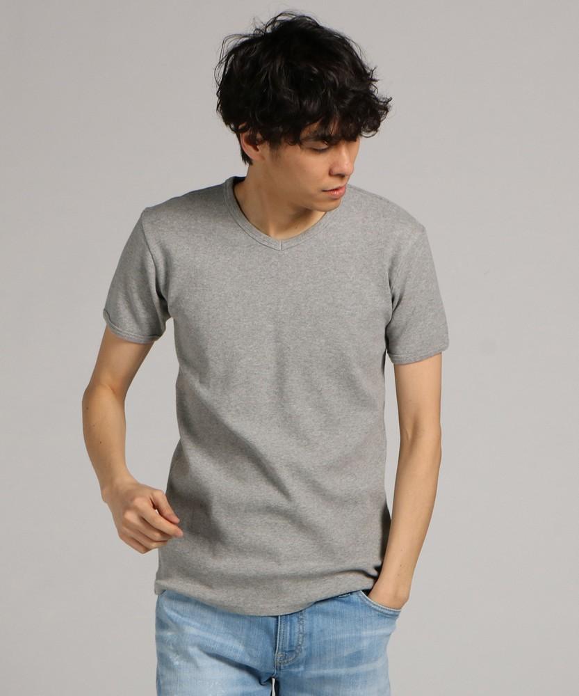 AVIREX ミニワッフルVネック半袖Tシャツ メンズ グレー