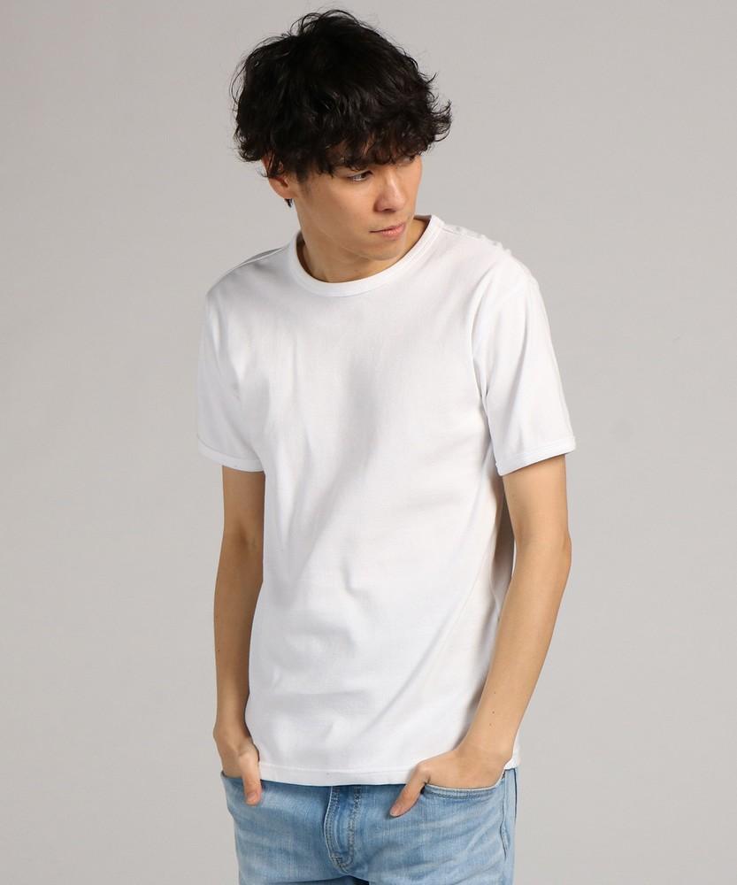 AVIREX ミニワッフルクルーネック半袖Tシャツ メンズ ホワイト