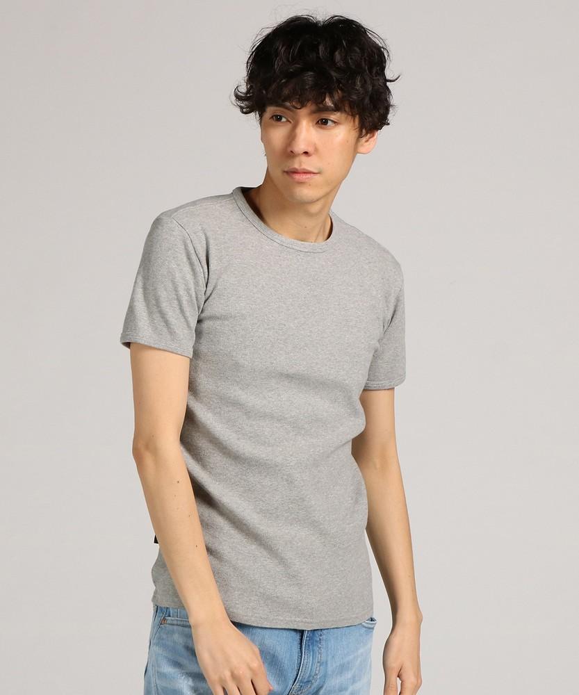 AVIREX ミニワッフルクルーネック半袖Tシャツ メンズ グレー