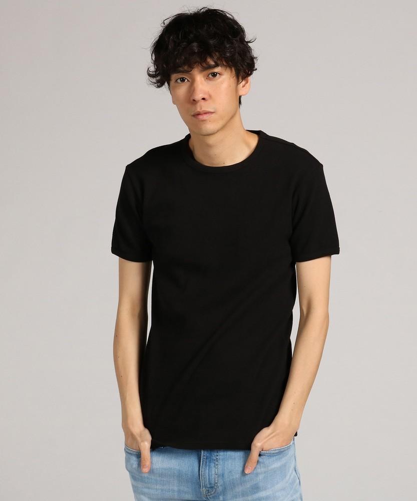 AVIREX ミニワッフルクルーネック半袖Tシャツ メンズ ブラック