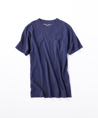 BACK NUMBER 日本製岐阜ガラガラ糸綿麻ポケット付き半袖Tシャツ メンズ ネイビー