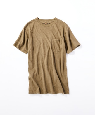 BACK NUMBER 【WEB限定価格】日本製岐阜ガラガラ糸綿麻ポケット付き半袖Tシャツ メンズ カーキ