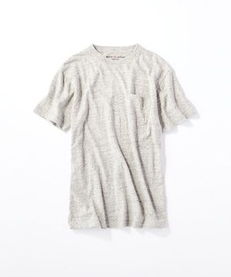 BACK NUMBER 【WEB限定価格】日本製岐阜ガラガラ糸綿麻ポケット付き半袖Tシャツ メンズ グレー