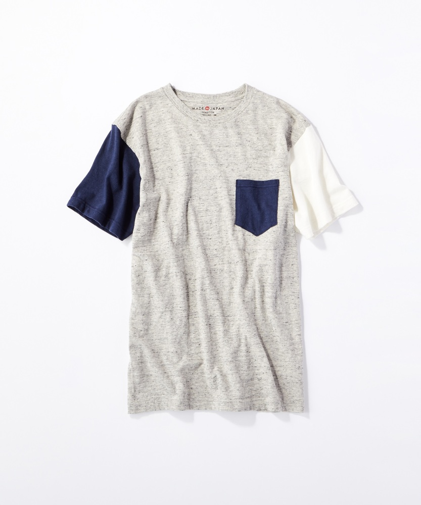 BACK NUMBER 【WEB限定】日本製岐阜ガラガラ糸綿麻クレイジーパターンポケット付き半袖Tシャツ オフホワイト*グレー
