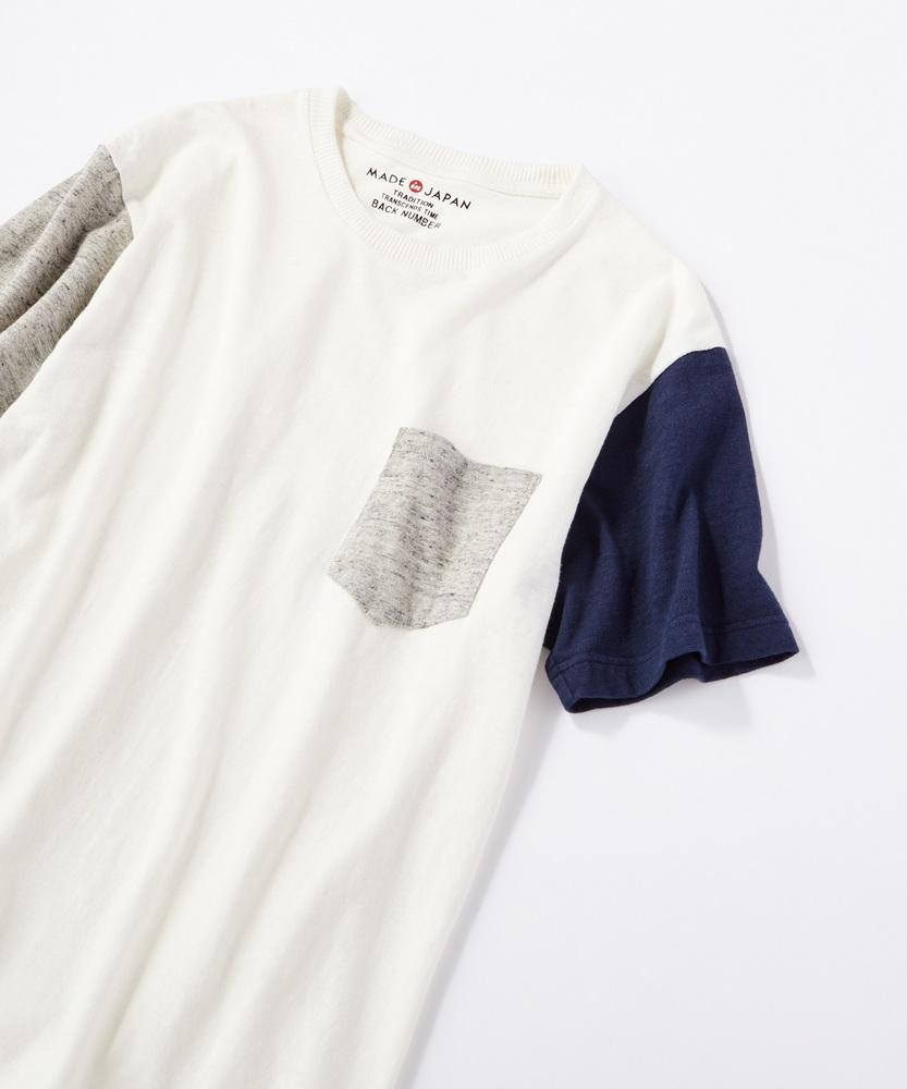 BACK NUMBER 【WEB限定】日本製岐阜ガラガラ糸綿麻クレイジーパターンポケット付き半袖Tシャツ グレー*オフホワイト