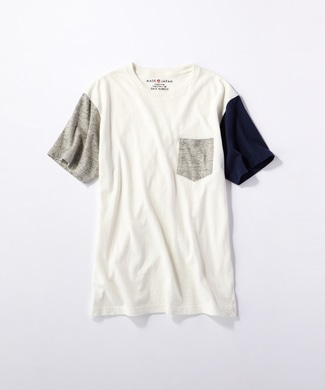 BACK NUMBER 【WEB限定価格】日本製岐阜ガラガラ糸綿麻クレイジーパターンポケット付き半袖Tシャツ グレー*オフホワイト