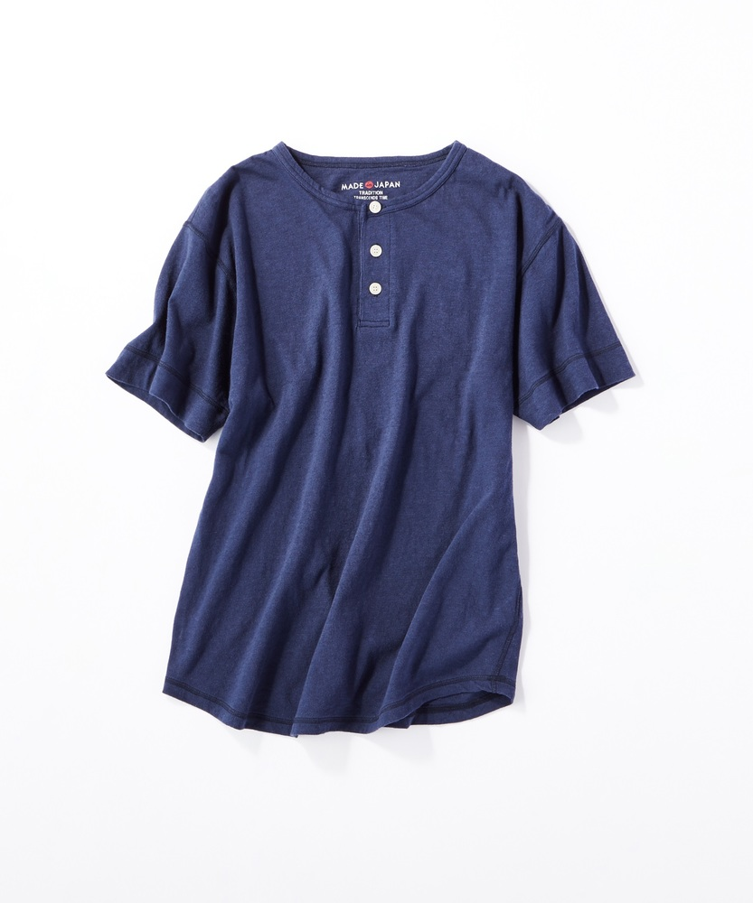 BACK NUMBER 【WEB限定】日本製岐阜ガラガラ糸綿麻ヘンリーネックTシャツ ネイビー